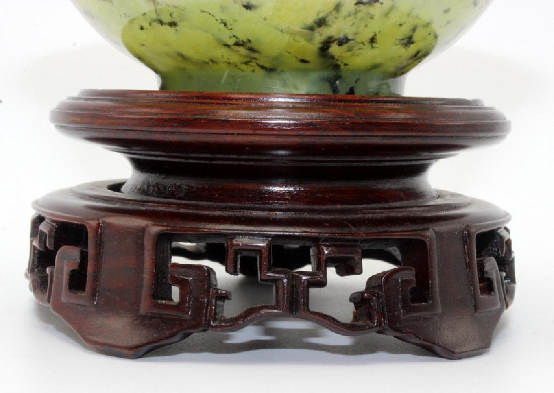 Antique Chinese Spinach Jade Bowl on Hardwood Stand - 3