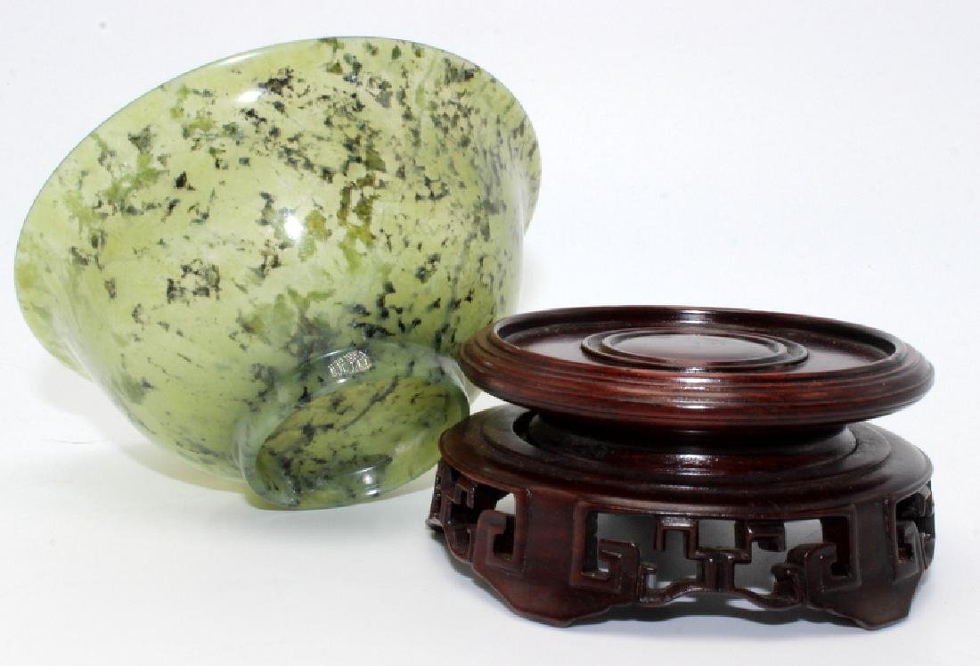 Antique Chinese Spinach Jade Bowl on Hardwood Stand - 4
