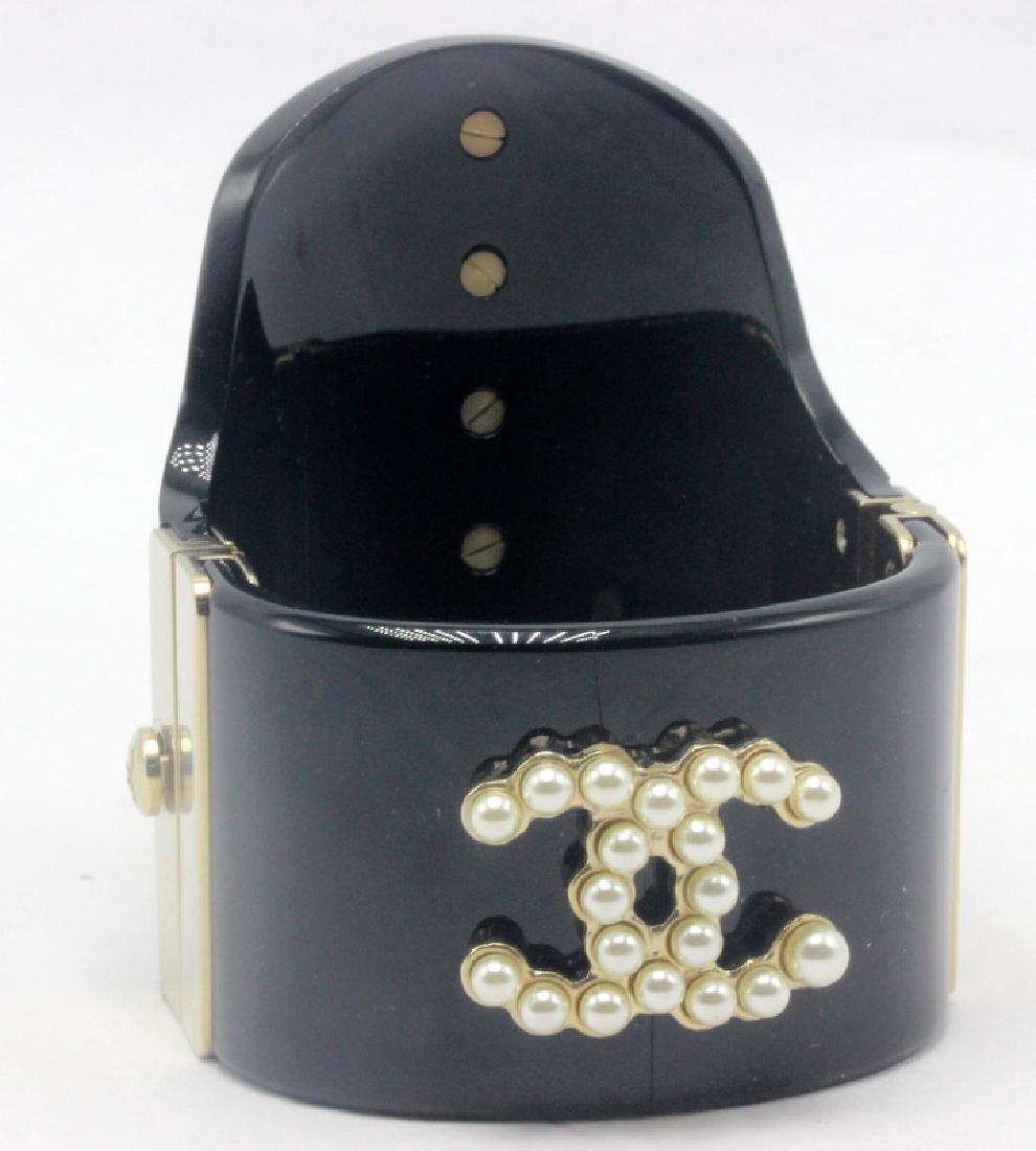 Chanel Black Pearl Cuff Bracelet