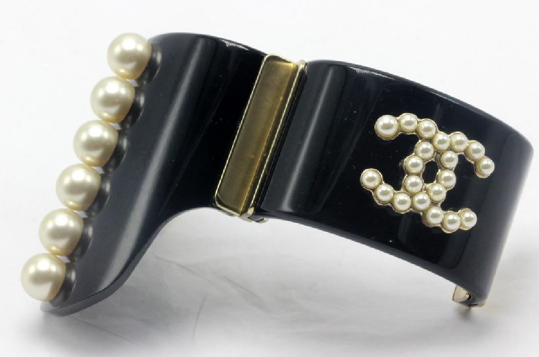 Chanel Black Pearl Cuff Bracelet - 3