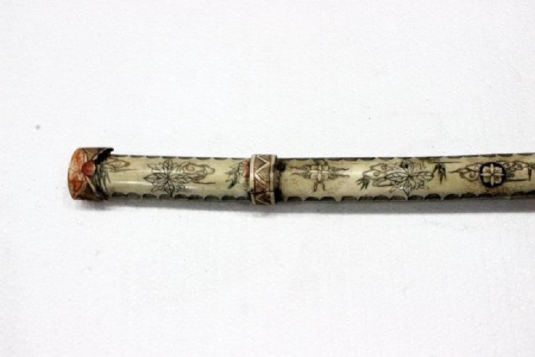 Chinese Carved Polychrome Bone Sword - 2