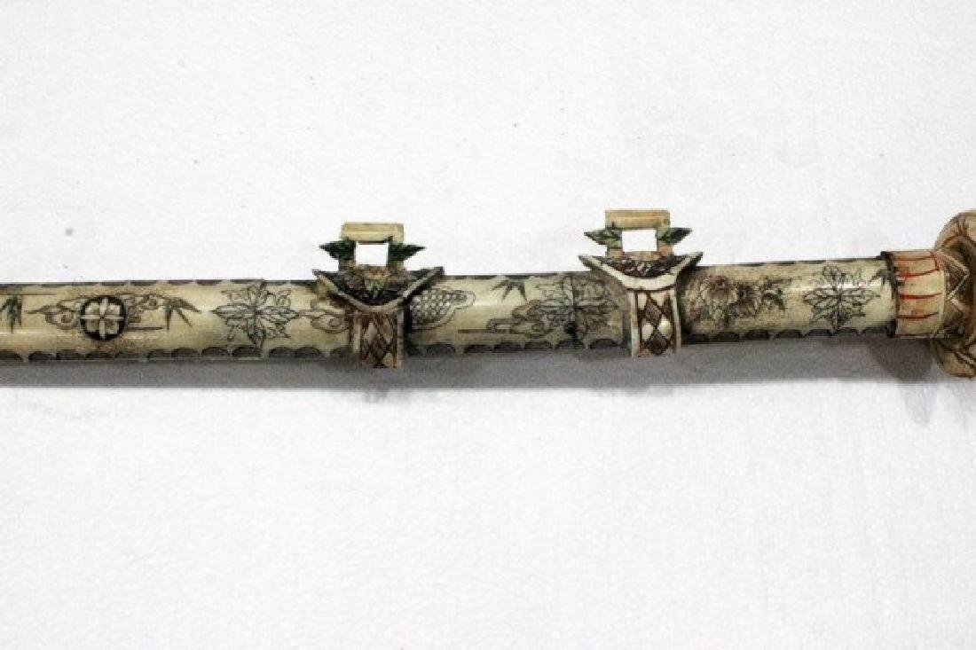 Chinese Carved Polychrome Bone Sword - 3