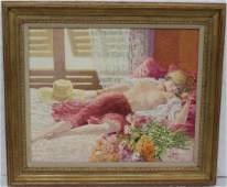 Signed Fabien Oil Painting on Canvas
