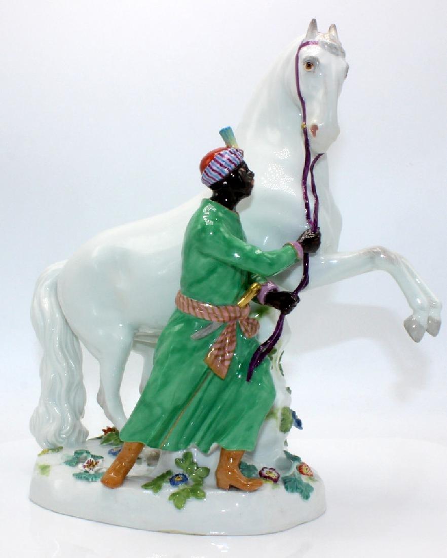 Meissen Piebald Horse Orientalist Figure Group