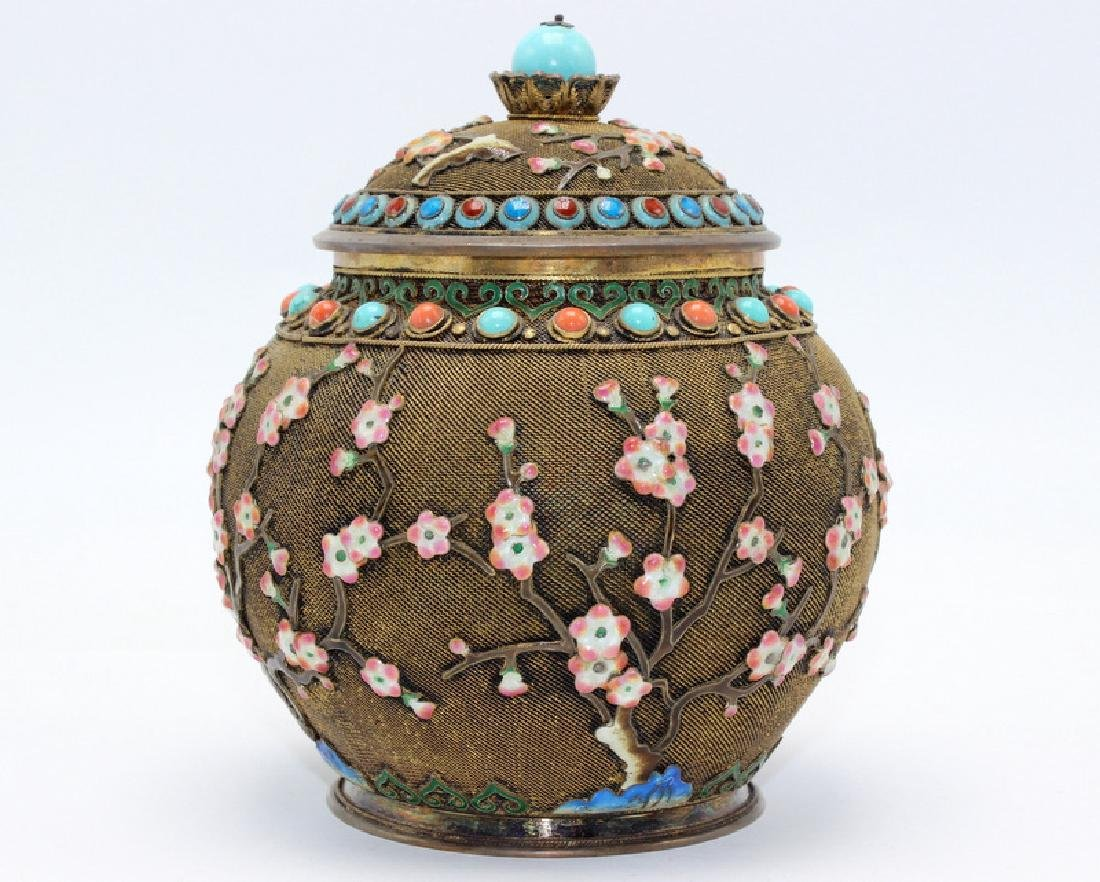 Chinese Silver Gilt, Coral & Turquoise Covered Jar