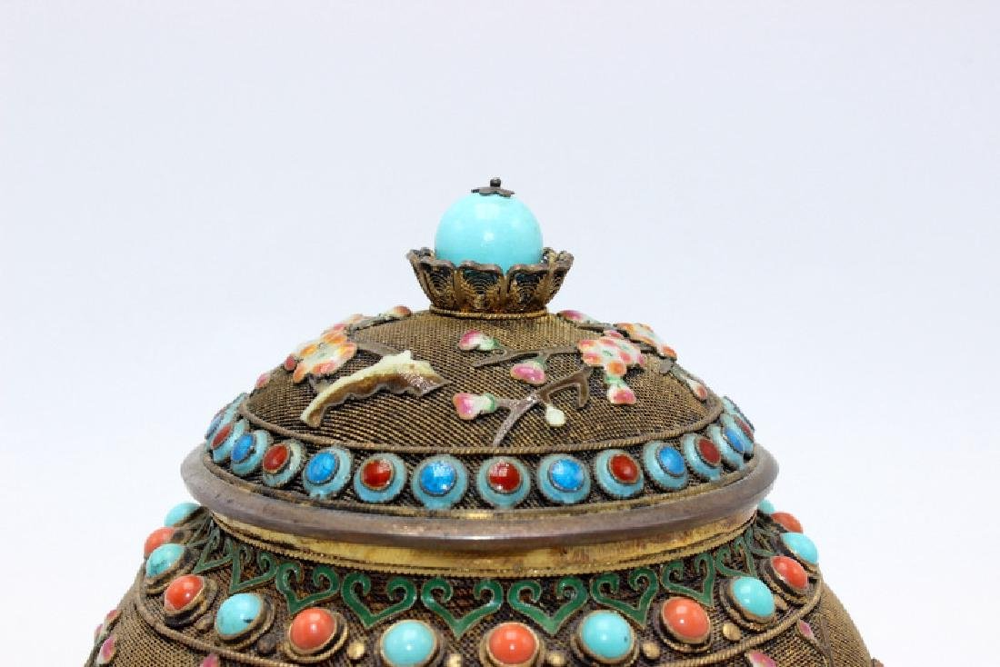Chinese Silver Gilt, Coral & Turquoise Covered Jar - 2