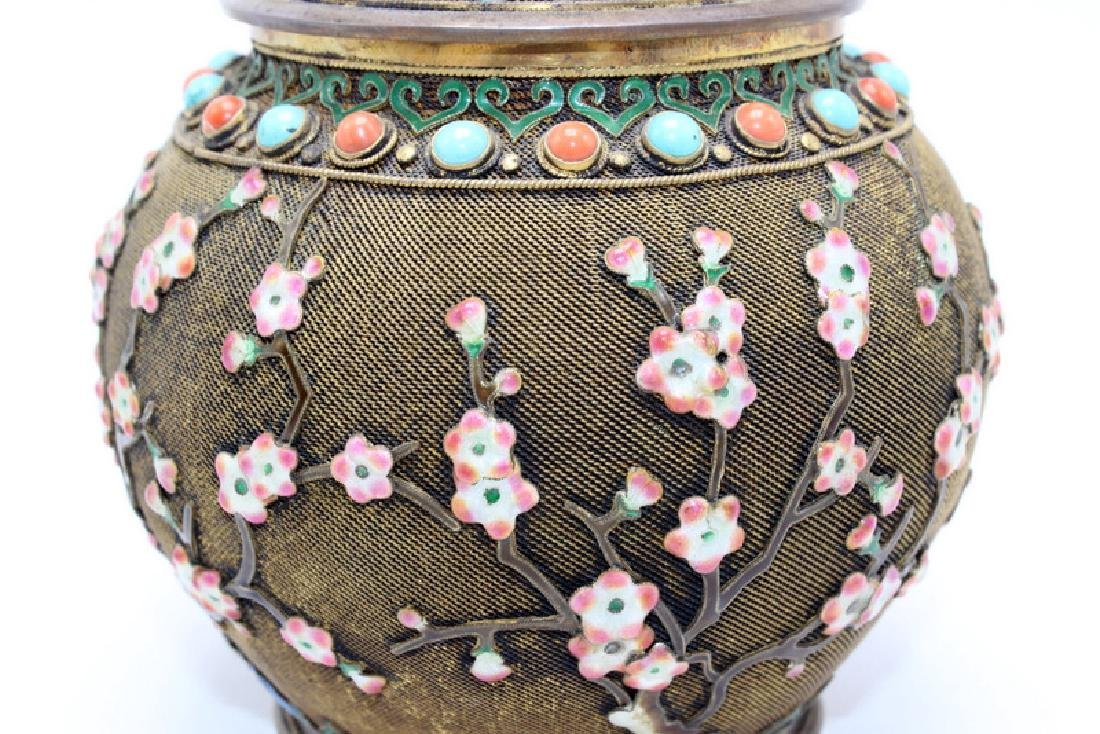 Chinese Silver Gilt, Coral & Turquoise Covered Jar - 3