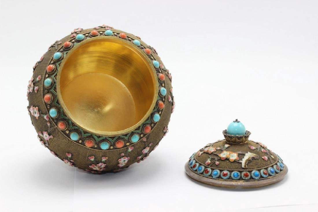 Chinese Silver Gilt, Coral & Turquoise Covered Jar - 6