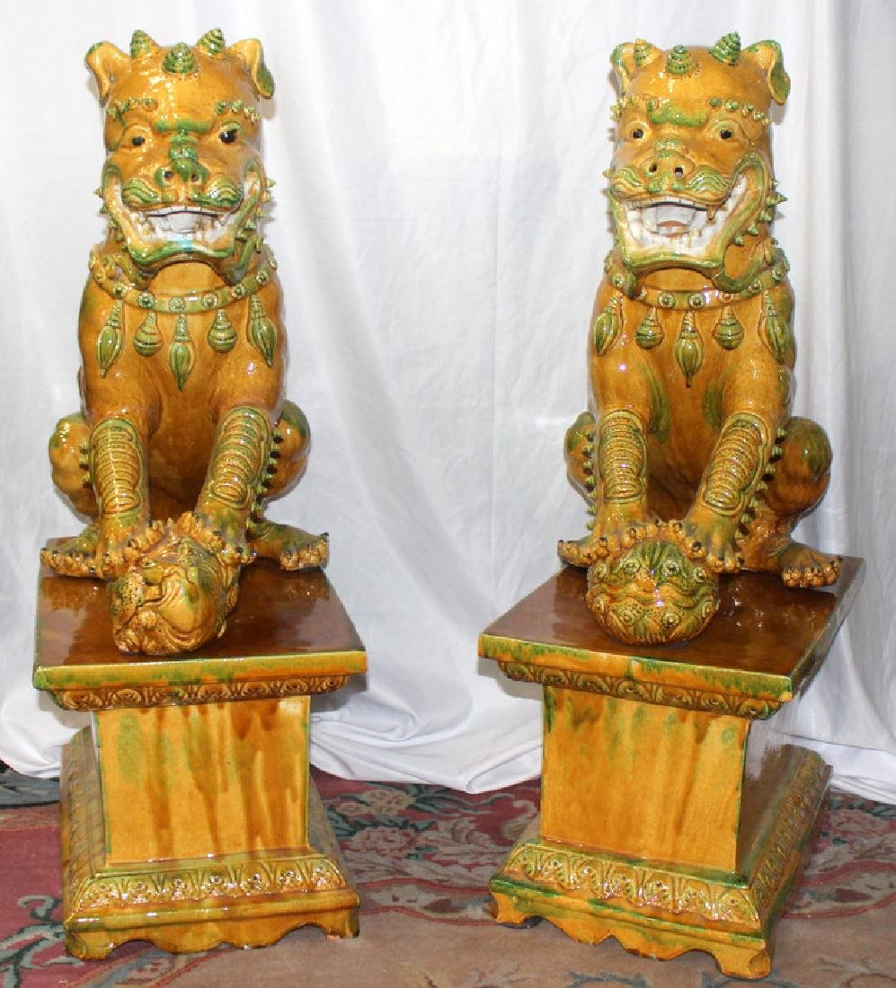 Pair of Hand Decorated Porcelain Palace Size Foo Dogs