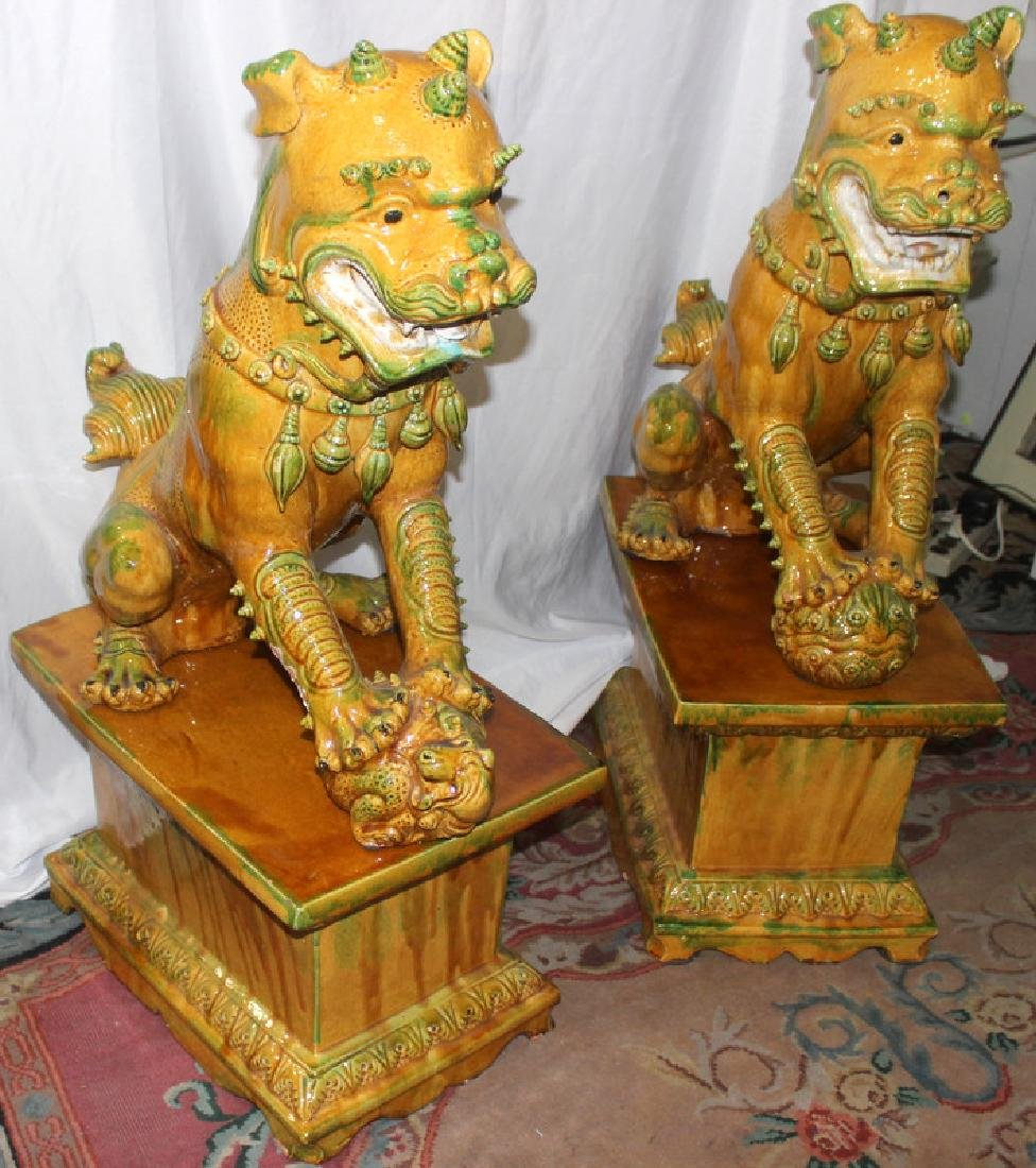 Pair of Hand Decorated Porcelain Palace Size Foo Dogs - 2
