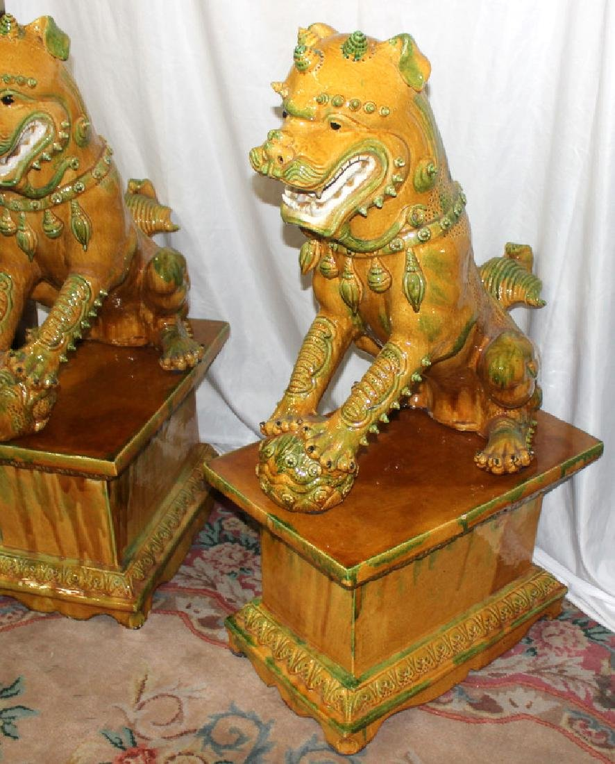 Pair of Hand Decorated Porcelain Palace Size Foo Dogs - 3