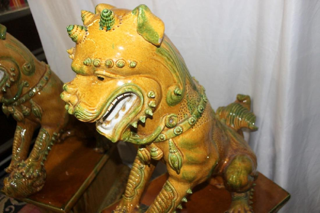 Pair of Hand Decorated Porcelain Palace Size Foo Dogs - 4