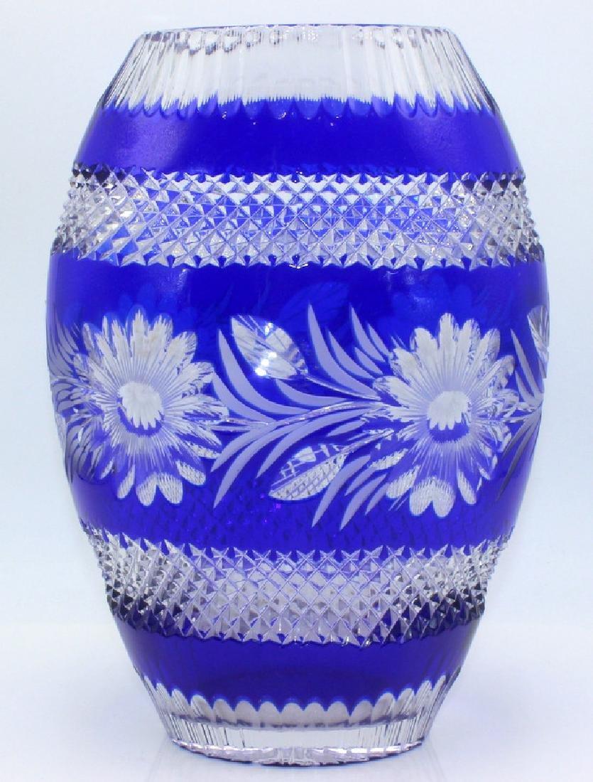 Cobalt American Cut Crystal Vase