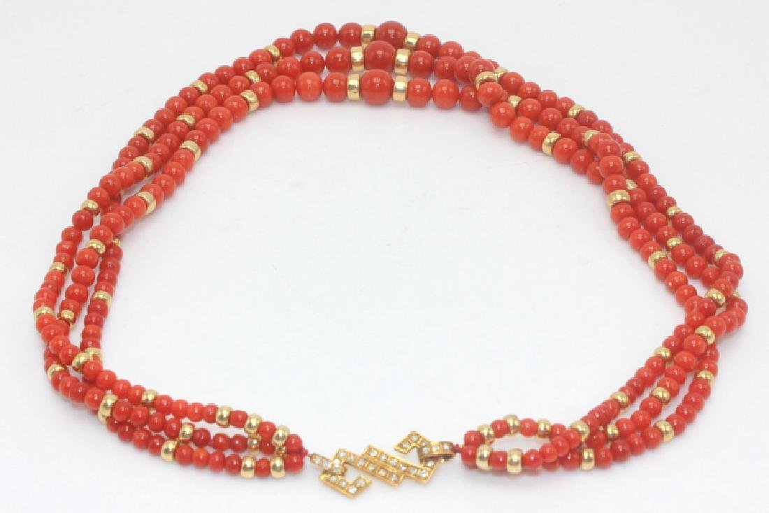 14Kt YG & Triple Strand Coral Necklace