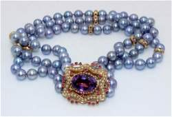 14Kt YG Clasp & Magnificent 3-Strand Pearl Necklace
