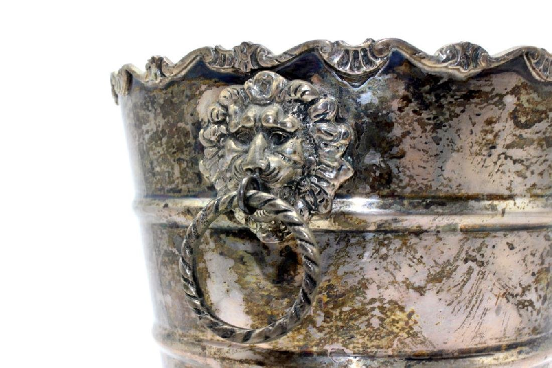 Marked Sterling Silver Ice Bucket with Lionhead Handles - 3