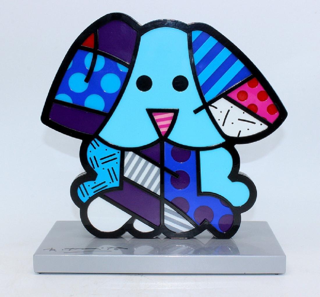 "Romero Britto ""Blue Dog"" Handsigned Metal Sculpture"