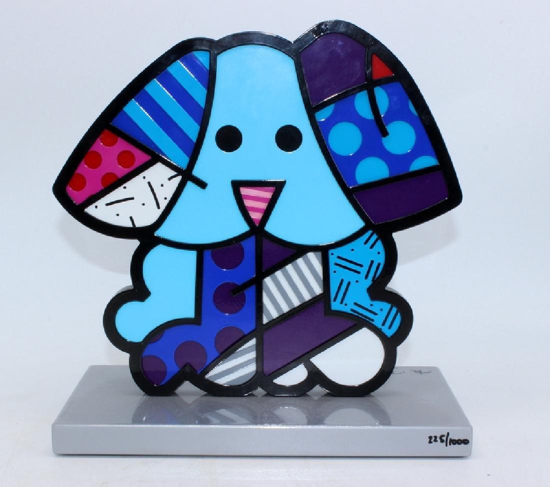 "Romero Britto ""Blue Dog"" Handsigned Metal Sculpture - 2"