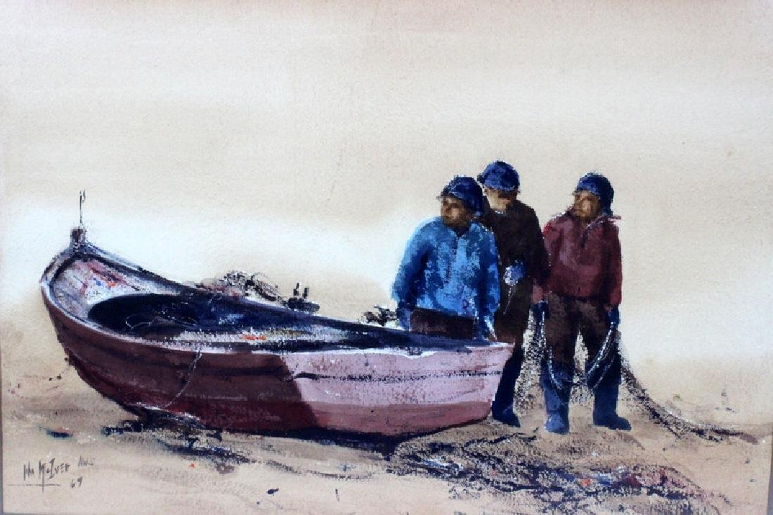 "American Watercolor on Paper ""Three Men with a Boat"""