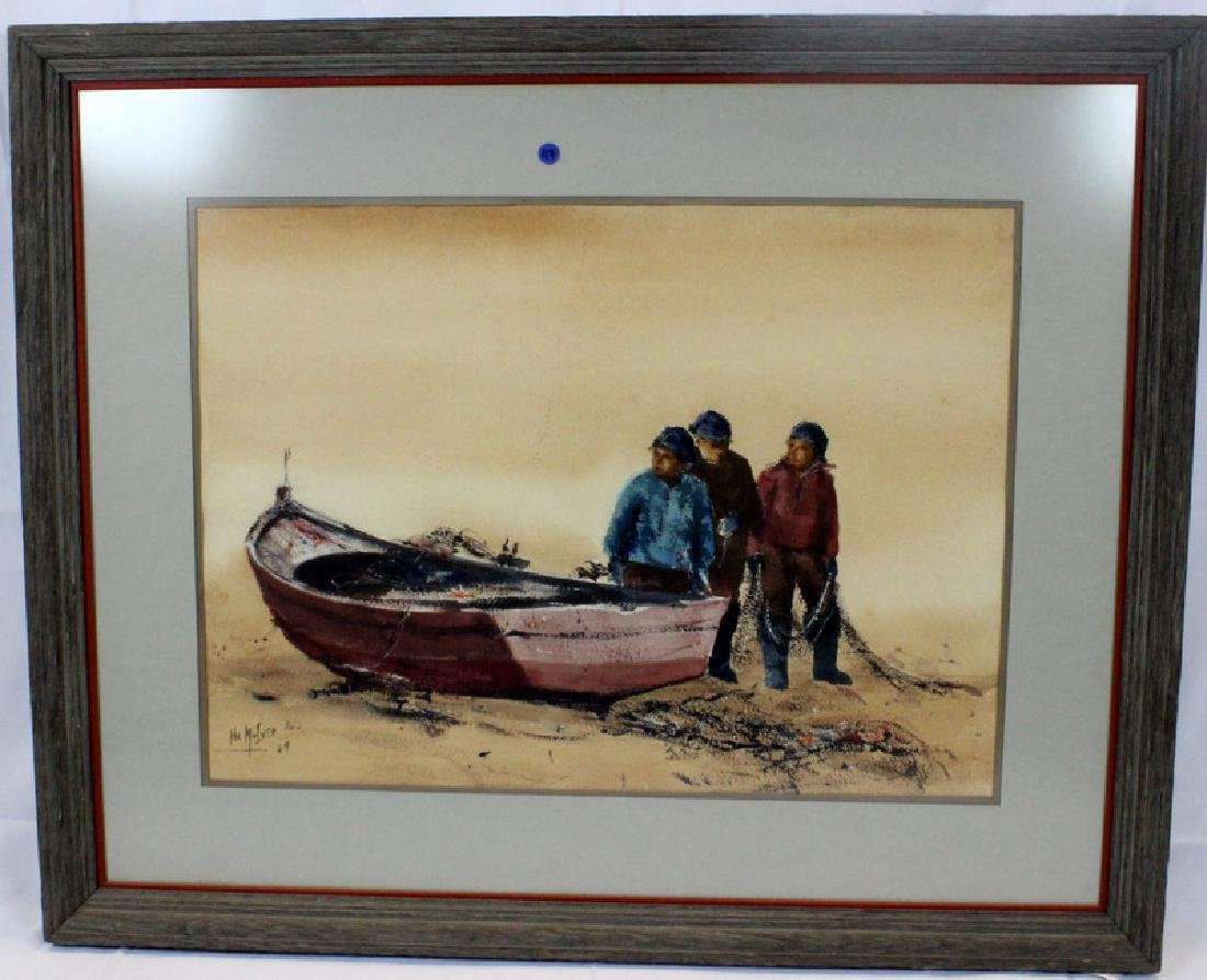 "American Watercolor on Paper ""Three Men with a Boat"" - 2"