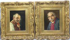 Pair Franz Xavier Wolfe Oil Painting on Panel