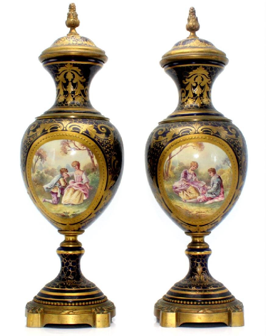Pair of French Sevres & Bronze Covered Urns