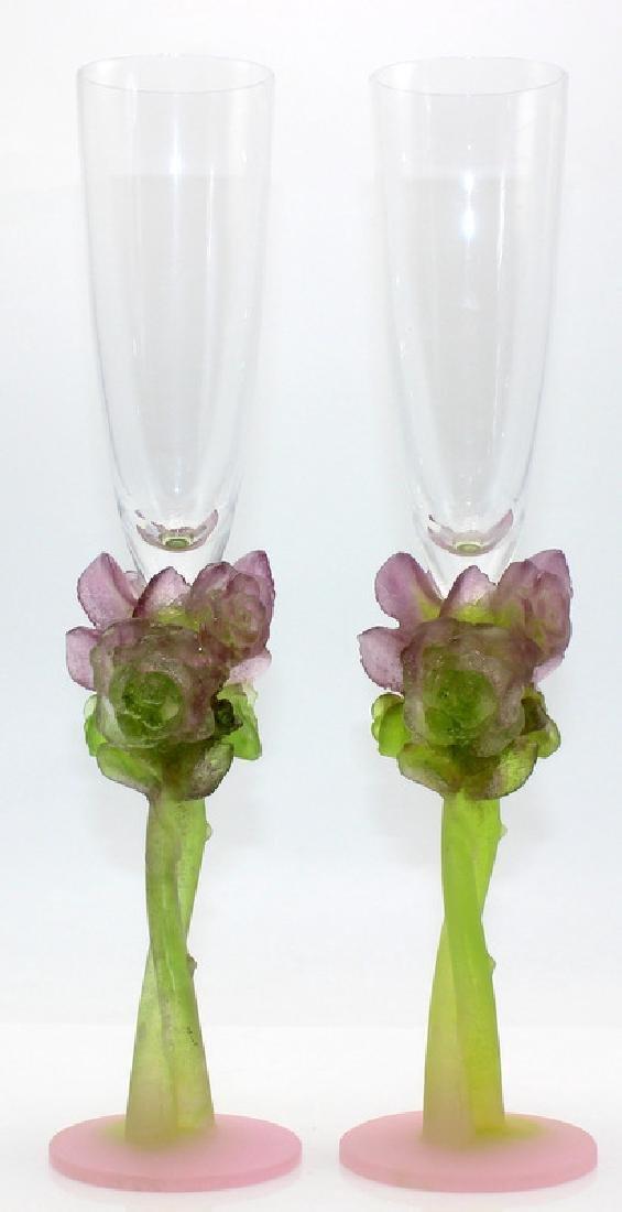 """Daum Pate de Verre """"Rose"""" (9) Champagne Flutes"""