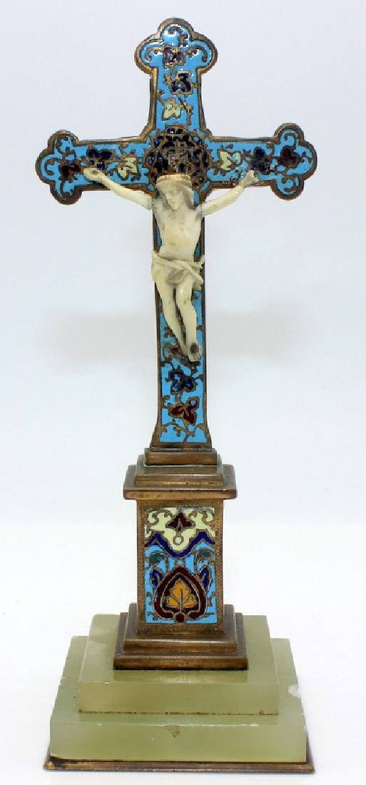 Antique French Champleve Enamel Cross