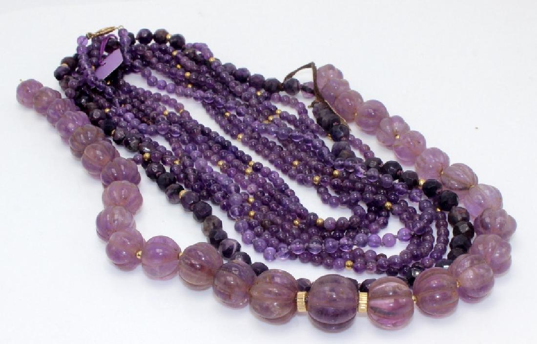 6-Strand 14Kt YG & Amethyst Necklaces