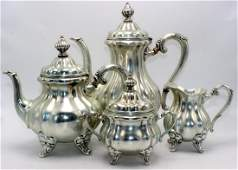English Sterling Silver 4 pc. Tea Service