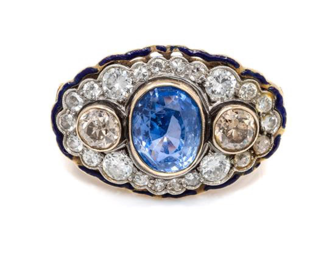 A Platinum Topped Gold, Sapphire, Diamond and Enamel