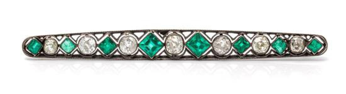 A Victorian Silver Topped Gold, Diamond and Emerald Bar