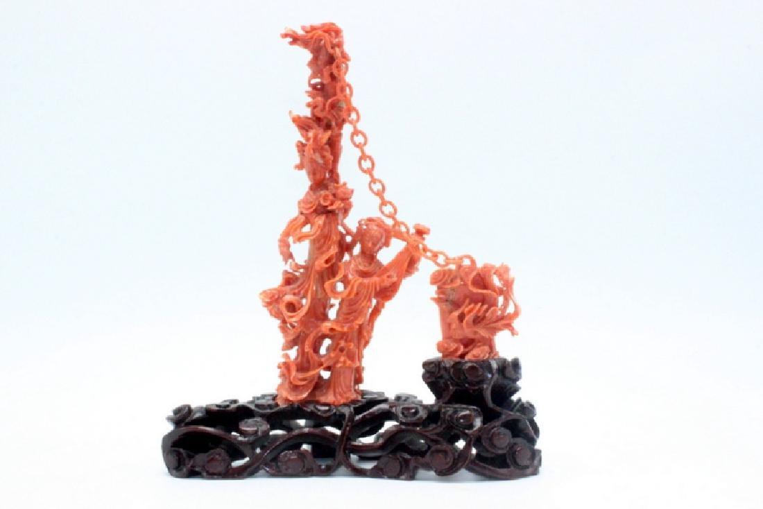Chinese Coral Carving Landy Playing Mandolin