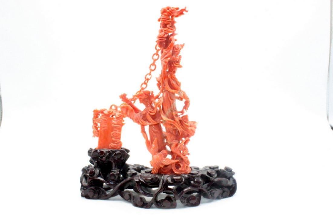 Chinese Coral Carving Landy Playing Mandolin - 3