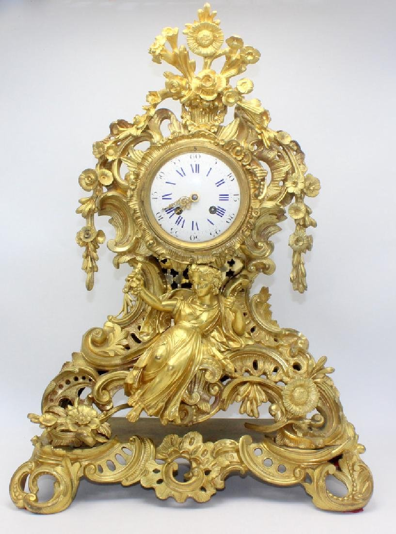 Antique French Dore Bronze Figural Mantle Clock