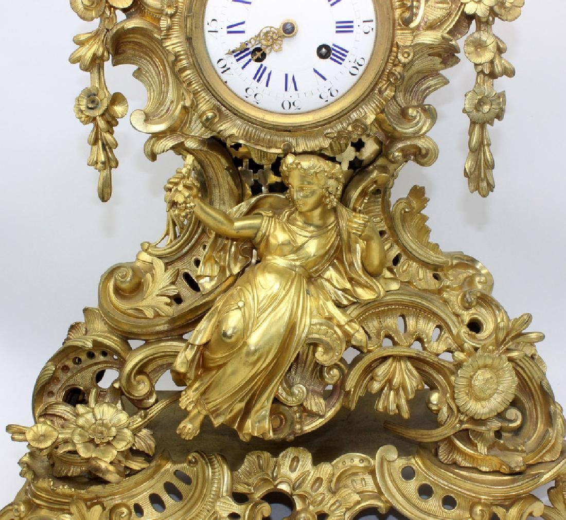 Antique French Dore Bronze Figural Mantle Clock - 3