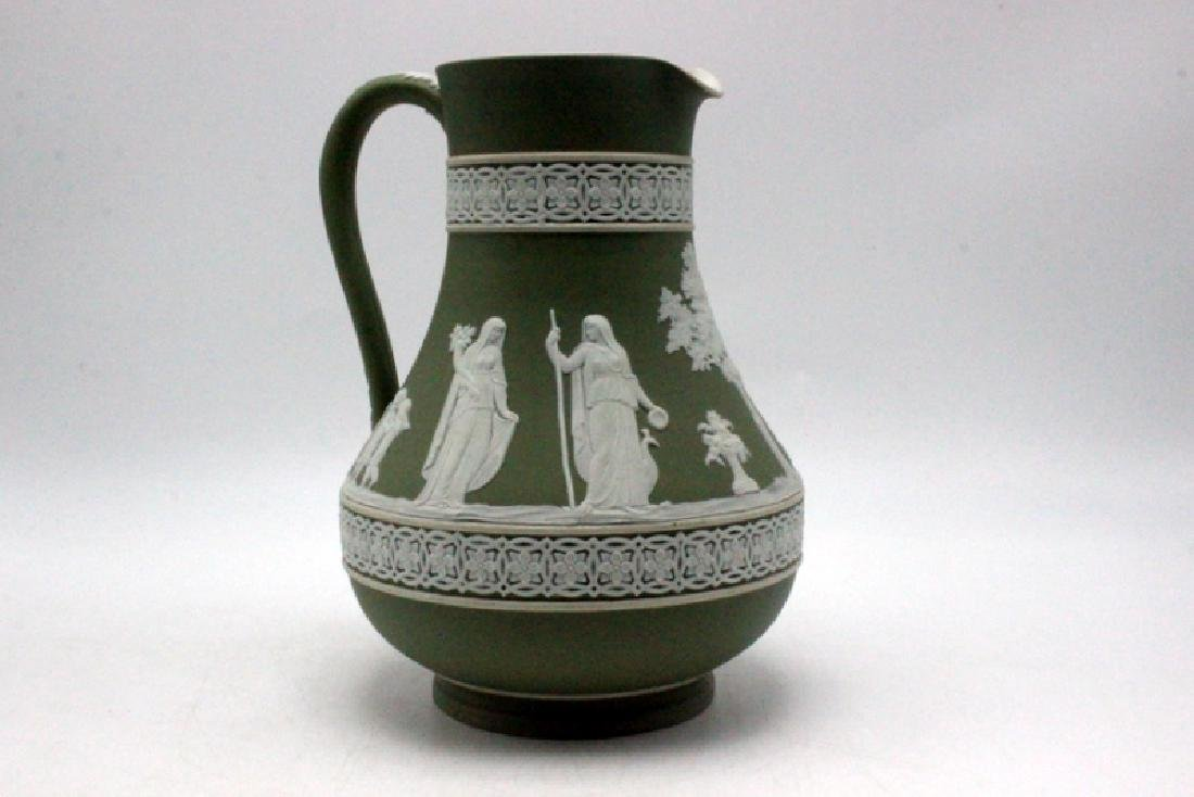 Green Wedgewood Jasperware Etched Pitcher