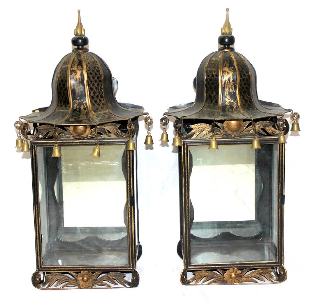 Oriental Tin Lantern Style Wall Sconces with Bell Tolls