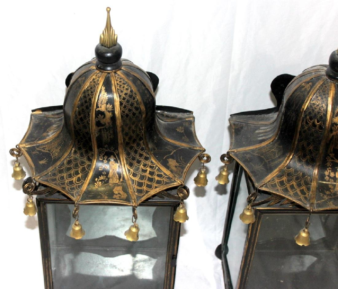 Oriental Tin Lantern Style Wall Sconces with Bell Tolls - 2