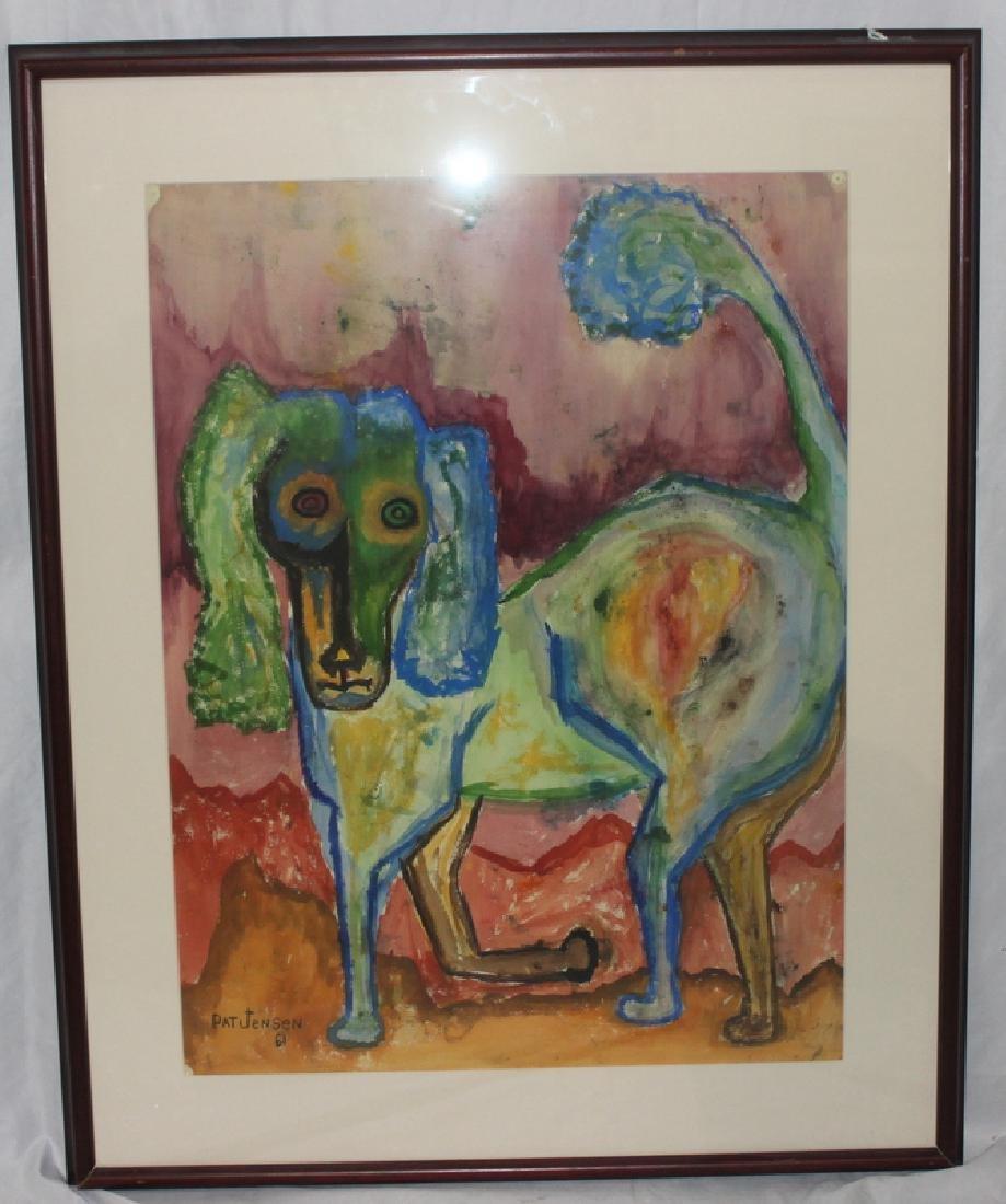 Pat Jensen (American, b.1929-2009) Dog Watercolor
