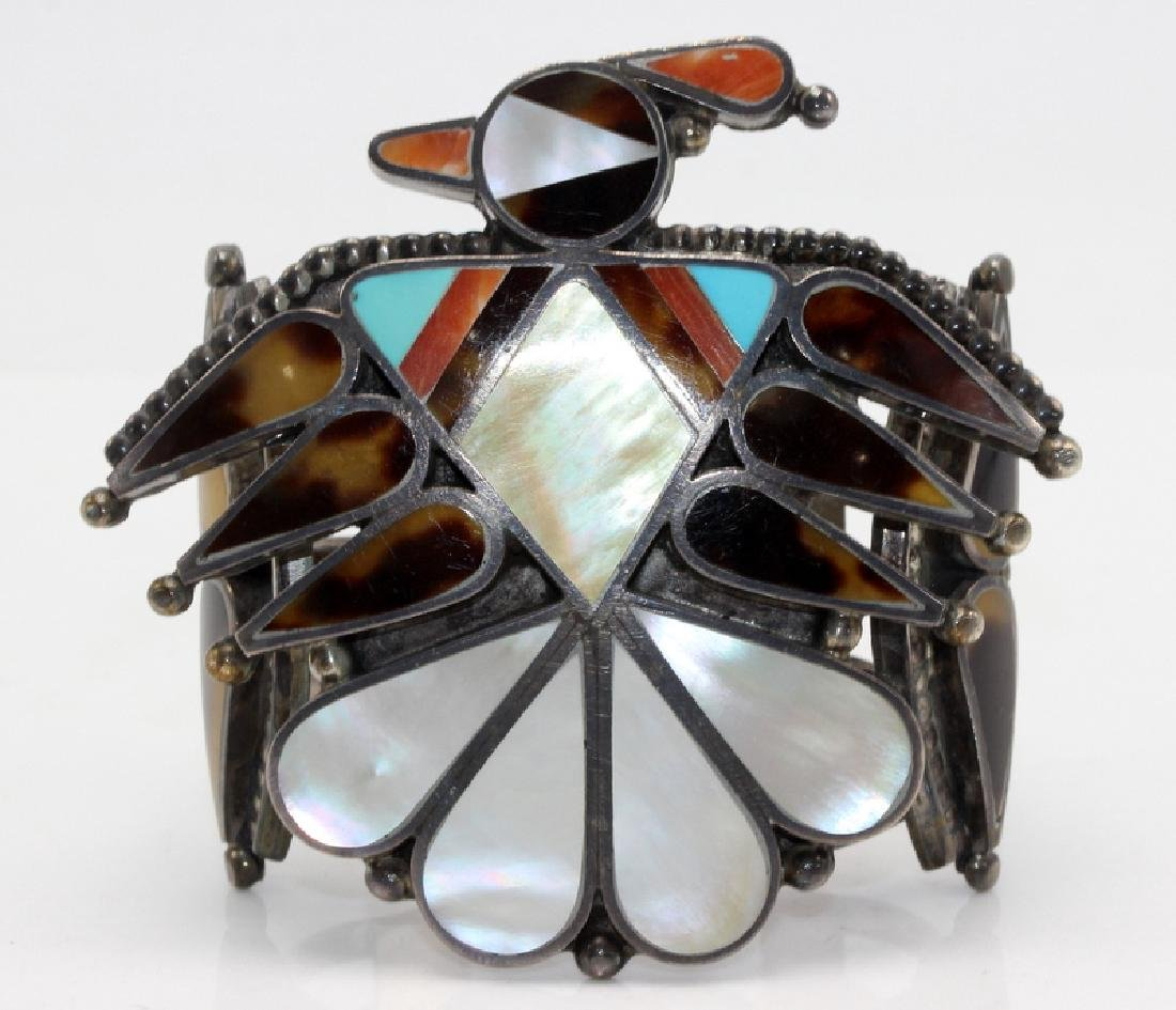 Mother of Pearl, Inlaid & Sterling Silver Cuff