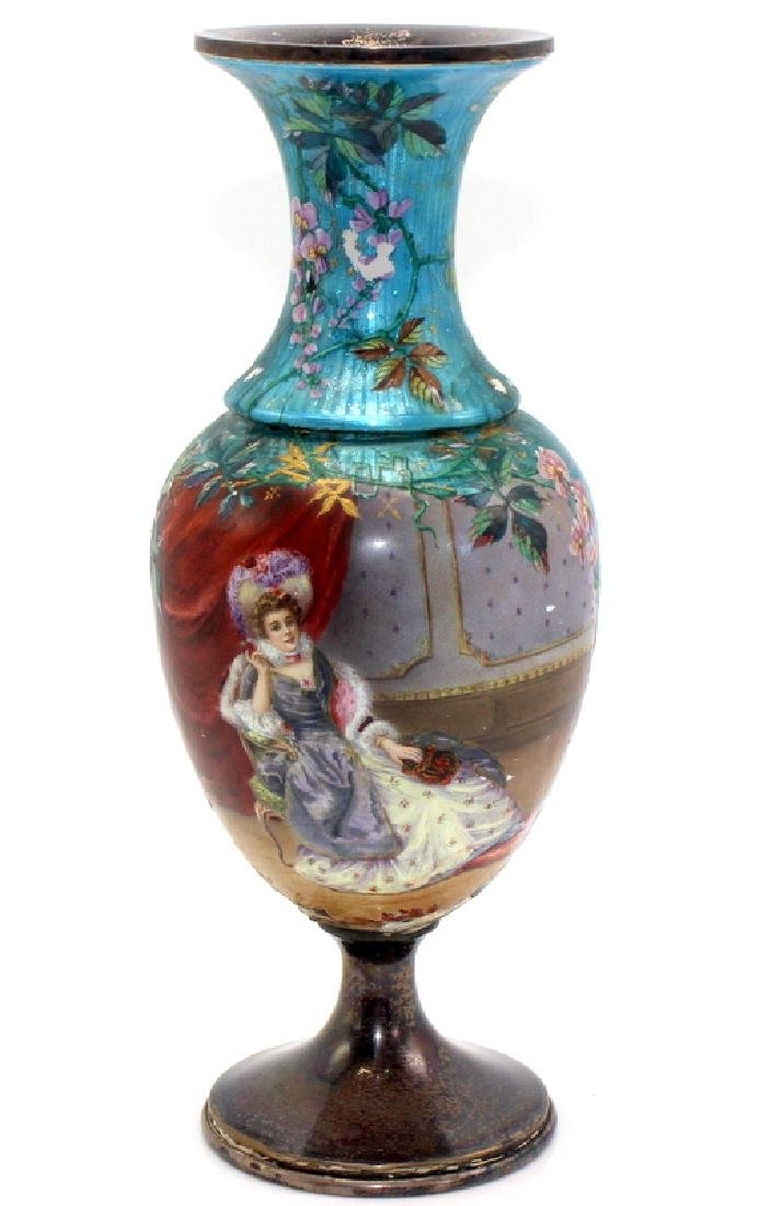 Rare French Enamel & Sterling Silver Vase