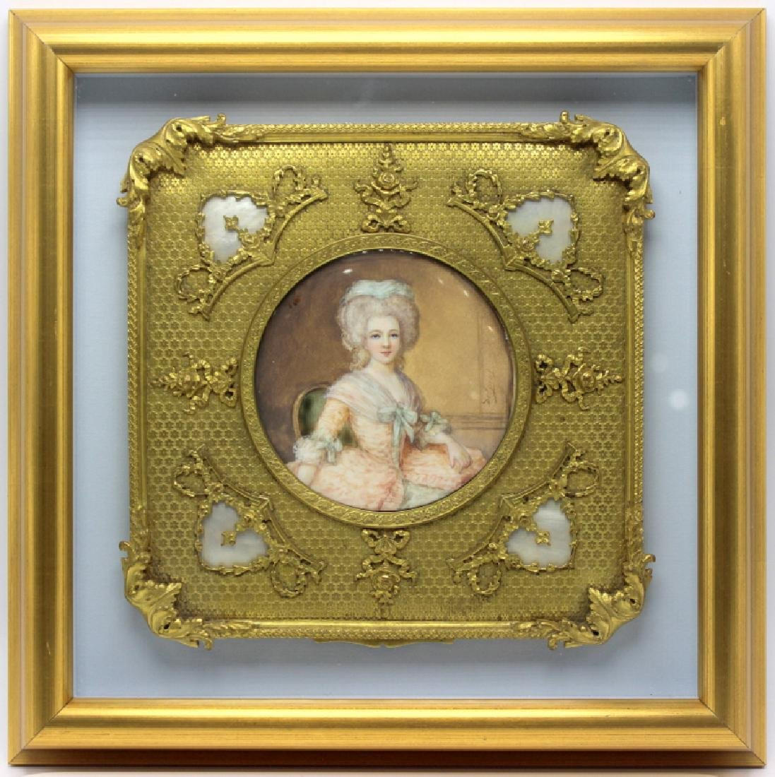 Antique Dore Bronze Frame with Painted Miniature in