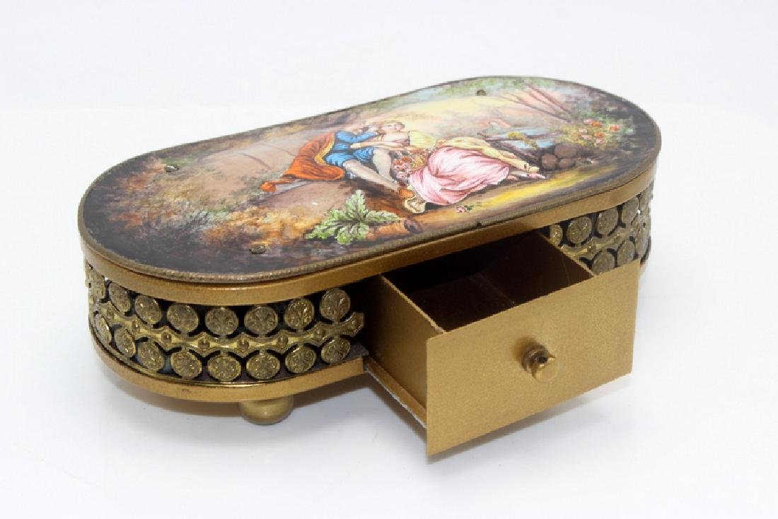 Antique Brass and Enamel Music Box - 3