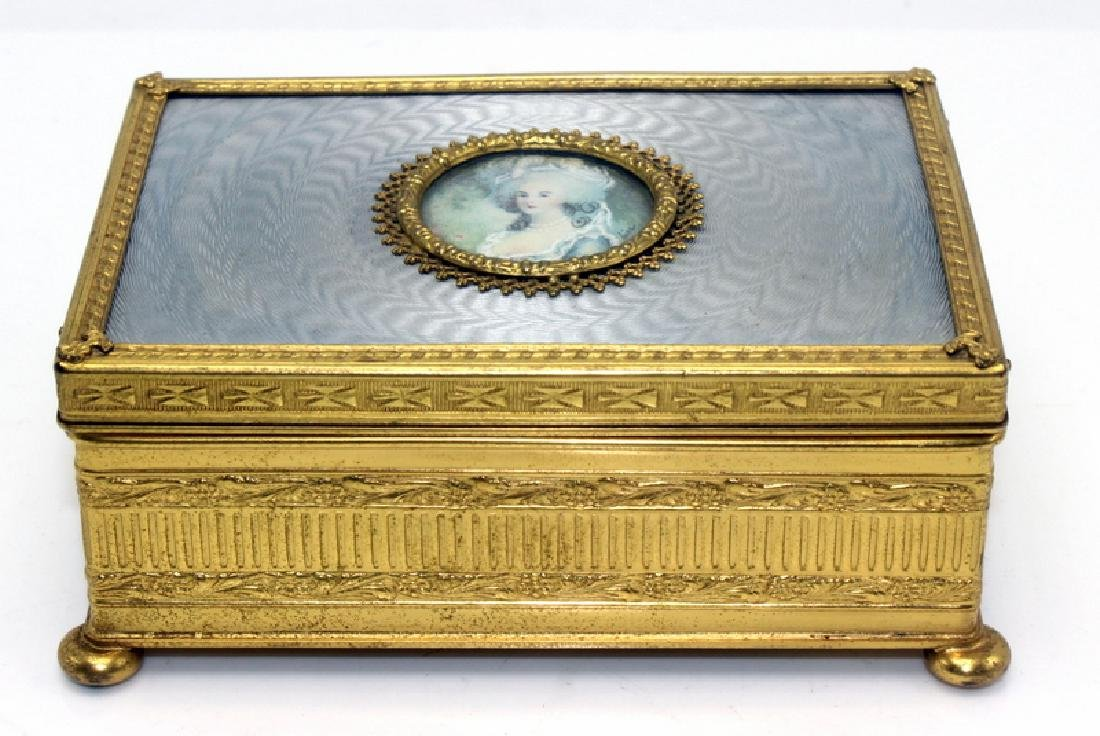 Antique French Bronze and Enamel Box on Bun Feet