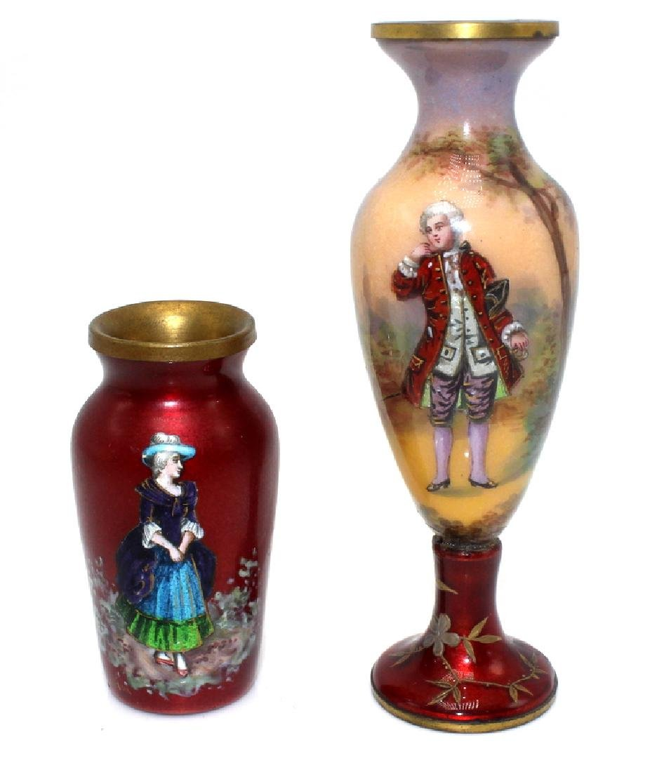 (2) Antique French Enamel Miniature Vases