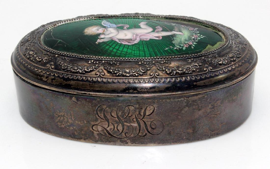 Sterling Silver & Enamel Decorated Trinket Box - 2