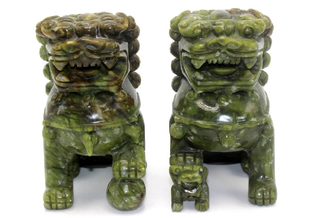 Antique Chinese Jade Foo Dogs