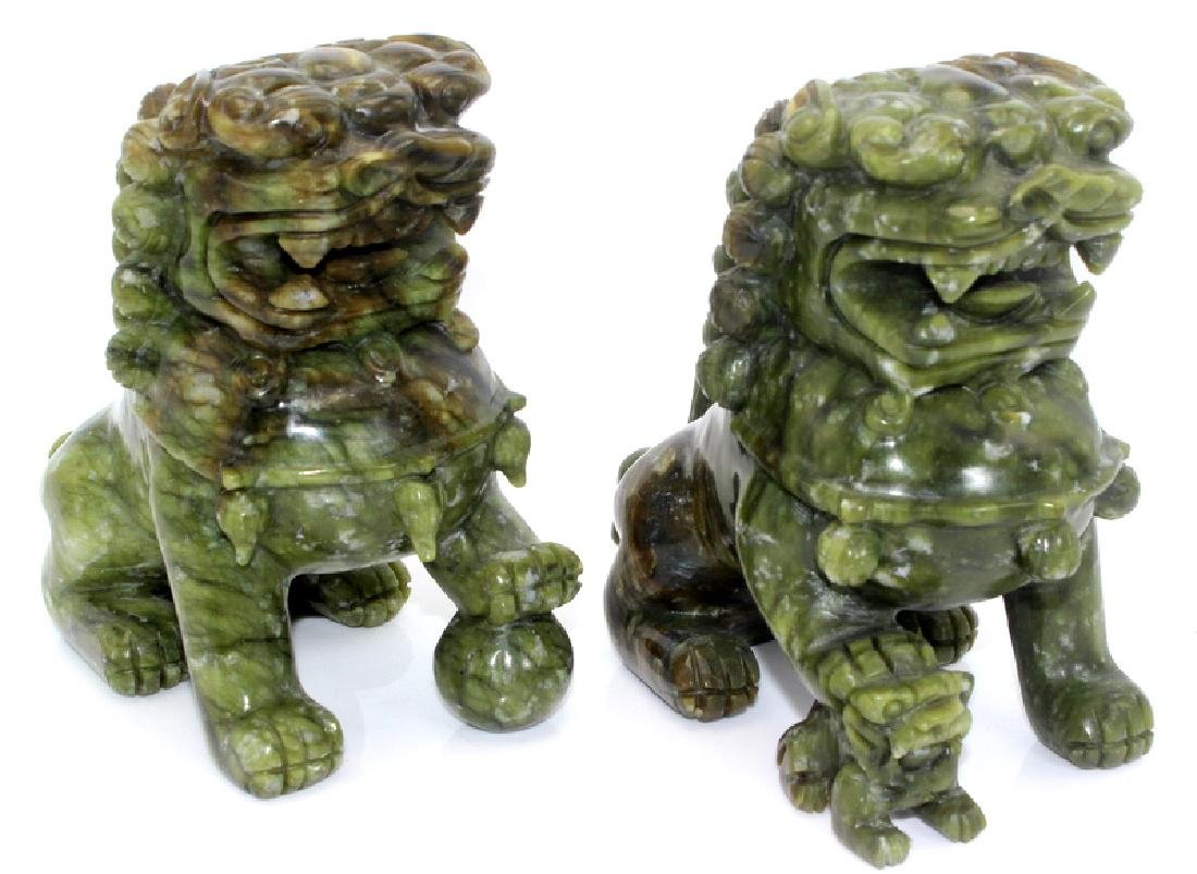 Antique Chinese Jade Foo Dogs - 2
