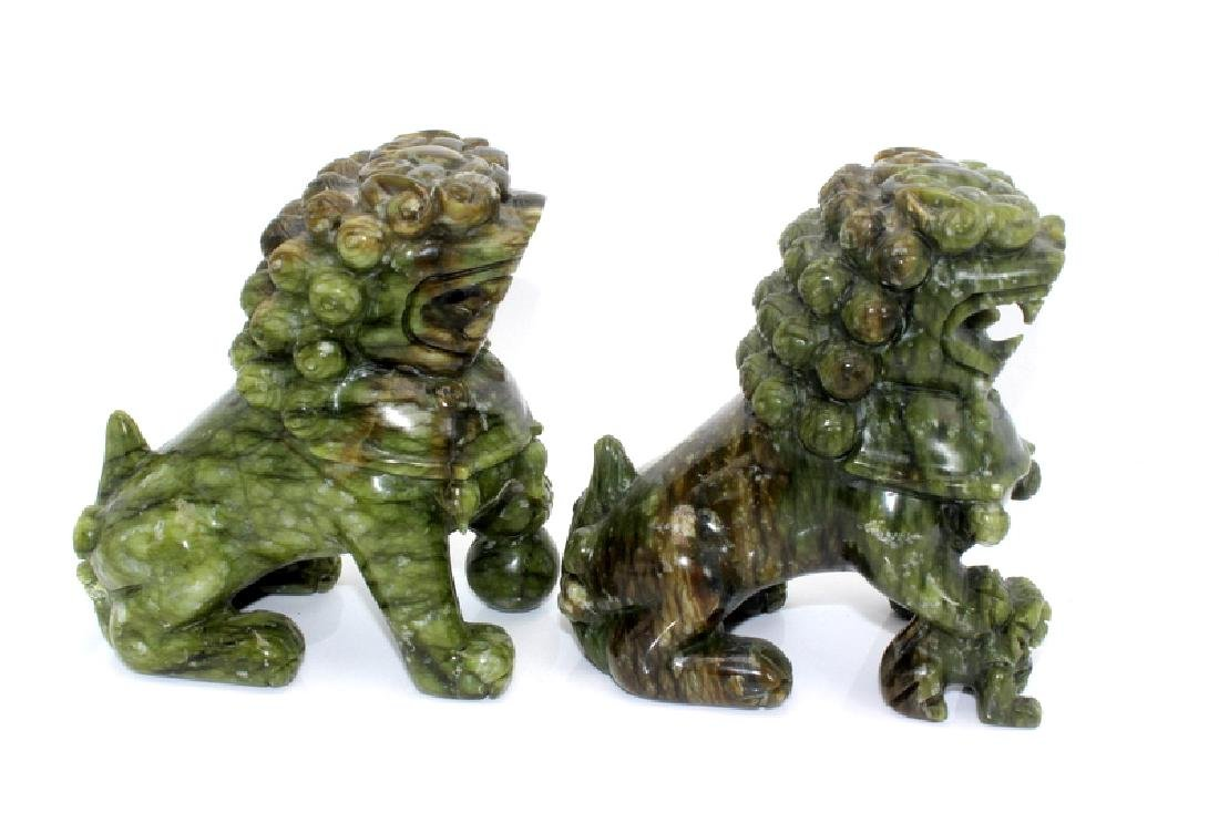 Antique Chinese Jade Foo Dogs - 3